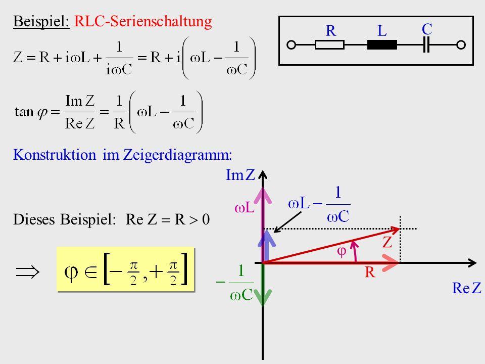 Beispiel: RLC-Serienschaltung RL C Konstruktion im Zeigerdiagramm: Re Z Im Z R L Z Dieses Beispiel: Re Z R 0