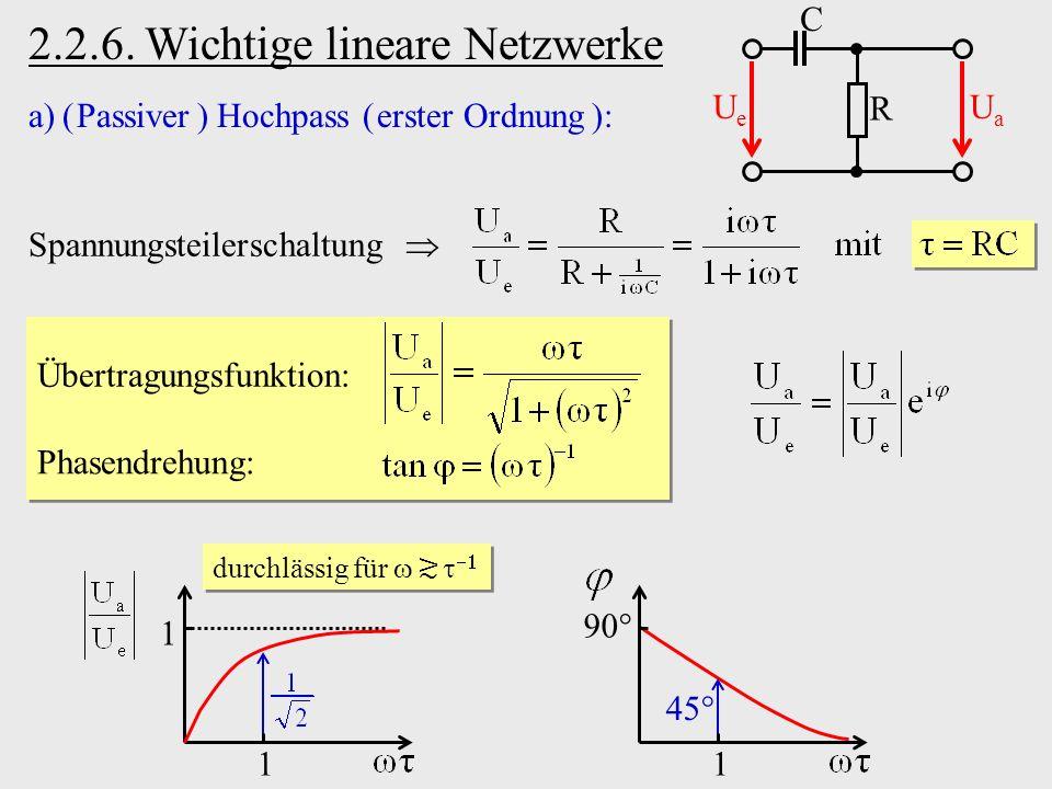 2.2.6. Wichtige lineare Netzwerke a)( Passiver ) Hochpass ( erster Ordnung ): R C UeUe UaUa Spannungsteilerschaltung Übertragungsfunktion: Phasendrehu
