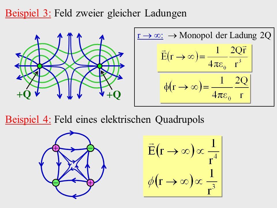 Beispiel 3: Feld zweier gleicher Ladungen Q Q Beispiel 4: Feld eines elektrischen Quadrupols r : Monopol der Ladung 2Q