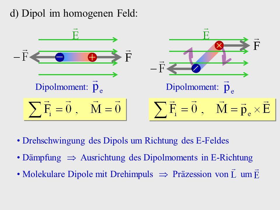 d) Dipol im homogenen Feld: Dipolmoment: Dipolmoment: Drehschwingung des Dipols um Richtung des E-Feldes Dämpfung Ausrichtung des Dipolmoments in E-Ri