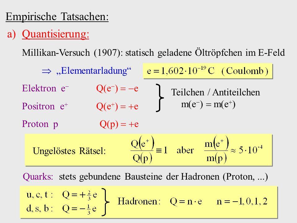 Empirische Tatsachen: a)Quantisierung: Millikan-Versuch (1907): statisch geladene Öltröpfchen im E-Feld Elementarladung Elektron e Q(e ) e Positron e