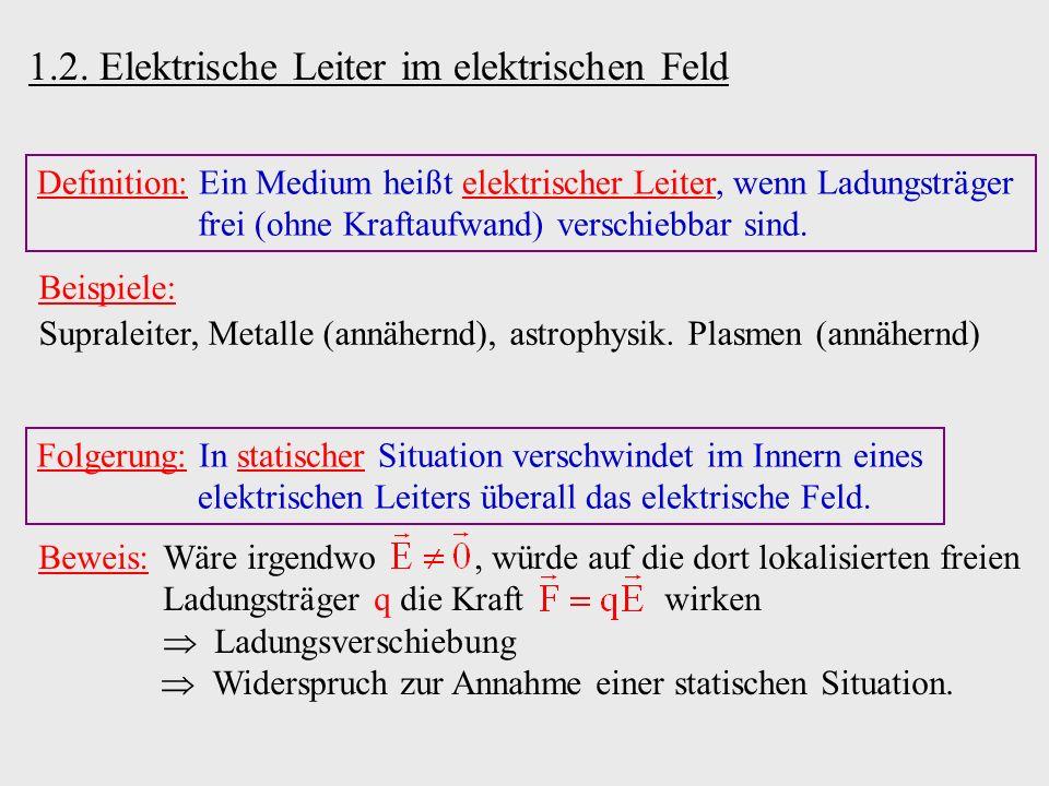 1.2. Elektrische Leiter im elektrischen Feld Definition: Ein Medium heißt elektrischer Leiter, wenn Ladungsträger frei (ohne Kraftaufwand) verschiebba