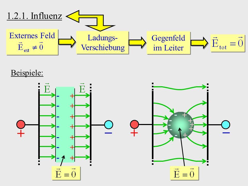 1.2.1. Influenz Externes Feld Ladungs- Verschiebung Gegenfeld im Leiter Beispiele: - - - - - - - - - - - -
