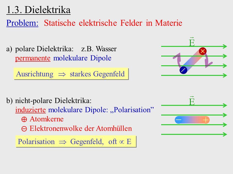 1.3. Dielektrika Problem: Statische elektrische Felder in Materie a)polare Dielektrika: z.B. Wasser permanente molekulare Dipole Ausrichtung starkes G