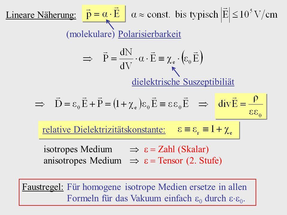 Lineare Näherung: (molekulare) Polarisierbarkeit dielektrische Suszeptibiliät relative Dielektrizitätskonstante: isotropes Medium Zahl (Skalar) anisot