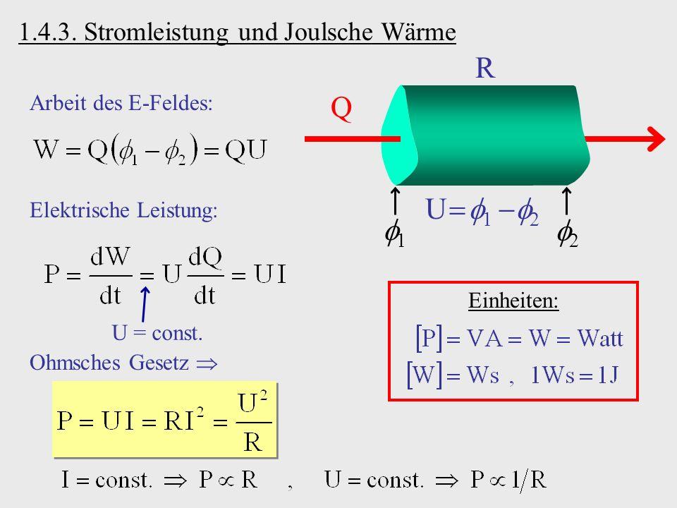 1.4.3. Stromleistung und Joulsche Wärme Q R 1 2 U 1 2 Arbeit des E-Feldes: Elektrische Leistung: U = const. Einheiten: Ohmsches Gesetz