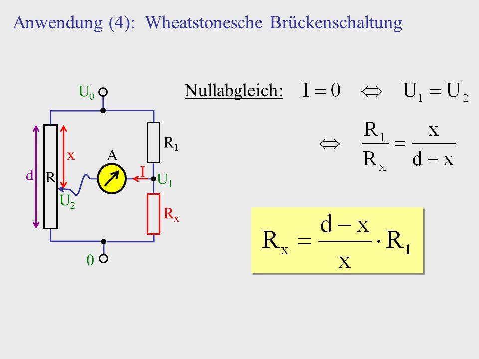 Anwendung (4): Wheatstonesche Brückenschaltung R U0U0 0 d x U1U1 U2U2 R1R1 RxRx A I Nullabgleich: