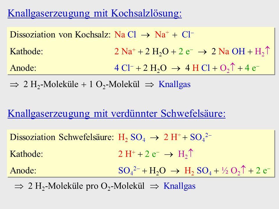 Knallgaserzeugung mit Kochsalzlösung: Dissoziation von Kochsalz:Na Cl Na + Cl Kathode:2 Na 2 H 2 O 2 e 2 Na OH H 2 Anode:4 Cl 2 H 2 O 4 H Cl O 2 4 e D