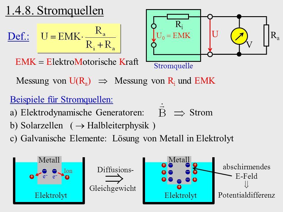 1.4.8. Stromquellen Stromquelle U V RaRa RiRi U 0 EMK Def.: EMK ElektroMotorische Kraft Messung von U(R a ) Messung von R i und EMK Elektrolyt Metall