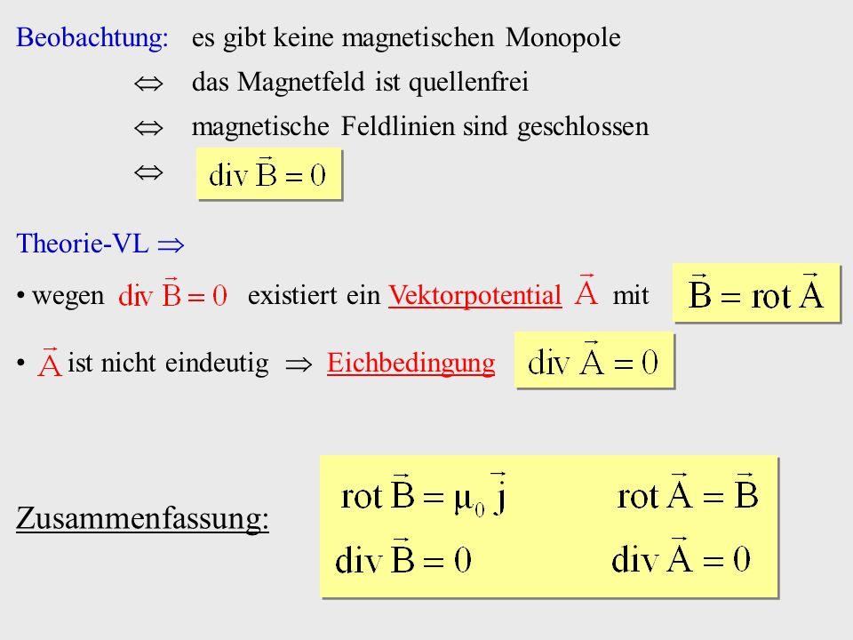 Beobachtung:es gibt keine magnetischen Monopole das Magnetfeld ist quellenfrei magnetische Feldlinien sind geschlossen Theorie-VL wegen existiert ein