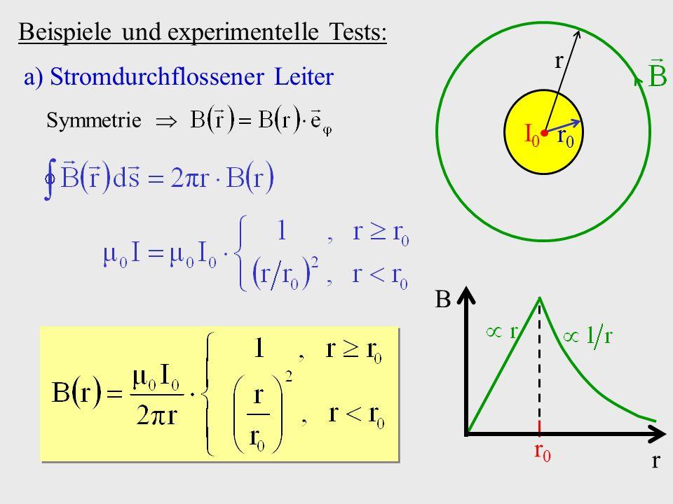 Beispiele und experimentelle Tests: a)Stromdurchflossener Leiter r0r0 I0I0 r Symmetrie B r r0r0