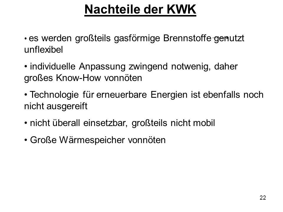 22 Nachteile der KWK es werden großteils gasförmige Brennstoffe genutzt unflexibel individuelle Anpassung zwingend notwenig, daher großes Know-How von