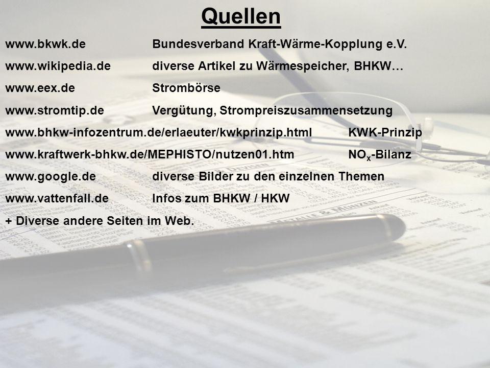 24 Quellen www.bkwk.de Bundesverband Kraft-Wärme-Kopplung e.V. www.wikipedia.de diverse Artikel zu Wärmespeicher, BHKW… www.eex.de Strombörse www.stro