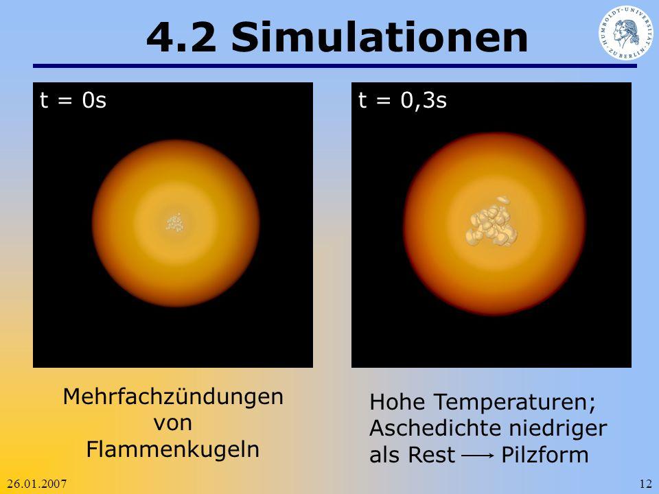 26.01.200712 4.2 Simulationen t = 0st = 0,3s Mehrfachzündungen von Flammenkugeln Hohe Temperaturen; Aschedichte niedriger als Rest Pilzform