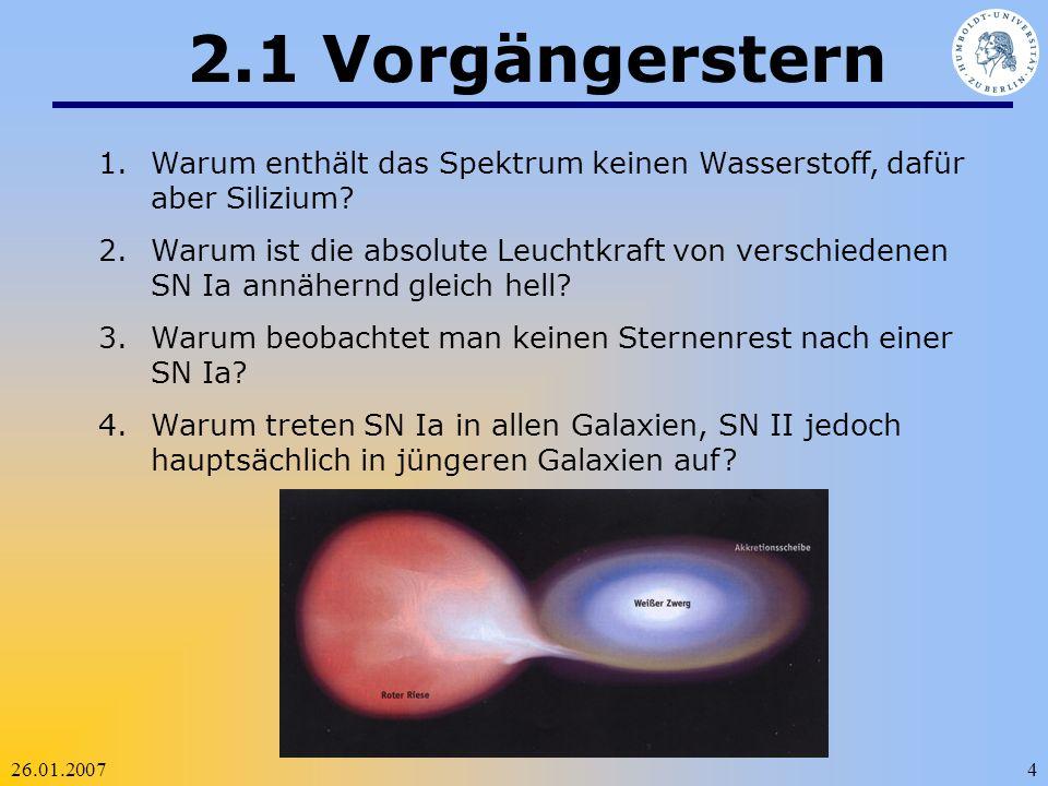 26.01.20074 2.1 Vorgängerstern 1.Warum enthält das Spektrum keinen Wasserstoff, dafür aber Silizium? 2.Warum ist die absolute Leuchtkraft von verschie