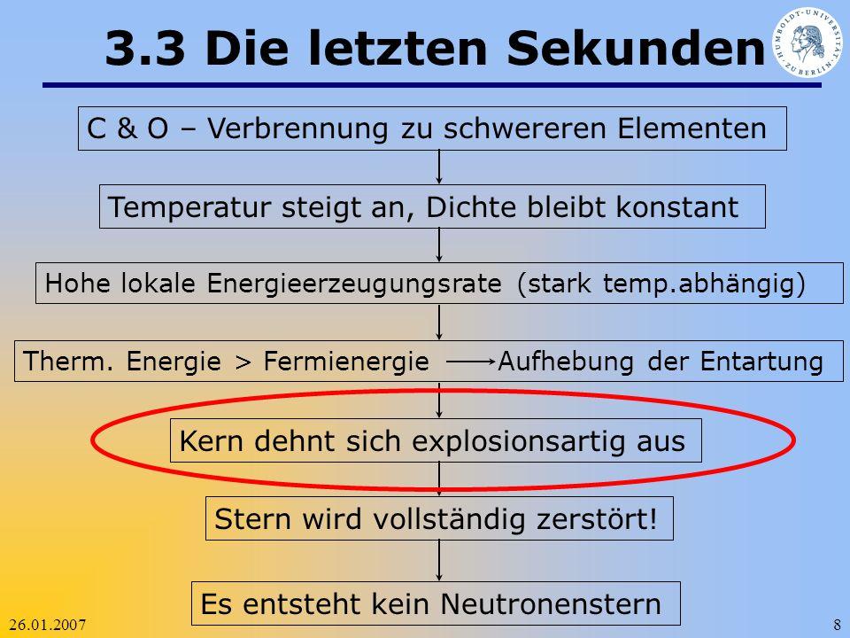 26.01.20078 3.3 Die letzten Sekunden C & O – Verbrennung zu schwereren Elementen Temperatur steigt an, Dichte bleibt konstant Hohe lokale Energieerzeu
