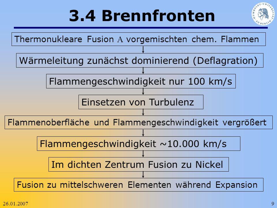 26.01.20079 3.4 Brennfronten Thermonukleare Fusion vorgemischten chem. Flammen Wärmeleitung zunächst dominierend (Deflagration)Flammengeschwindigkeit