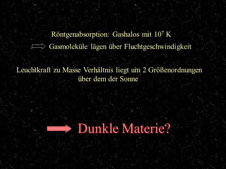 Gashalo Röntgenabsorption: Gashalos mit 10 7 K Gasmoleküle lägen über Fluchtgeschwindigkeit Leuchtkraft zu Masse Verhältnis liegt um 2 Größenordnungen