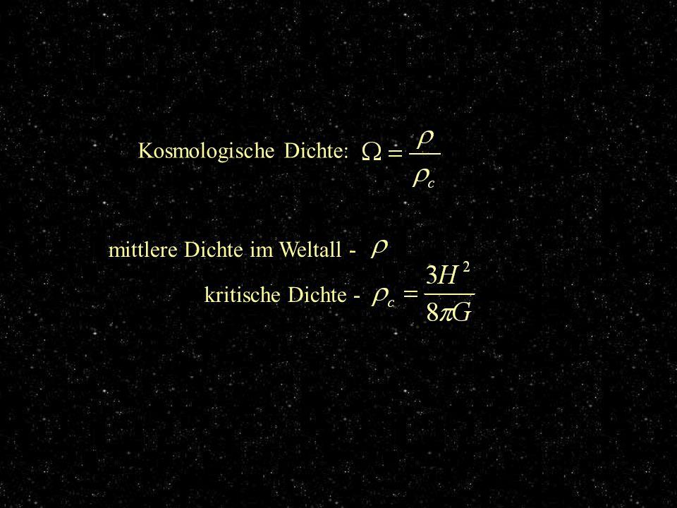 Kosmologische Dichte: mittlere Dichte im Weltall - kritische Dichte - Wiederholung: Kosmologische Dichte