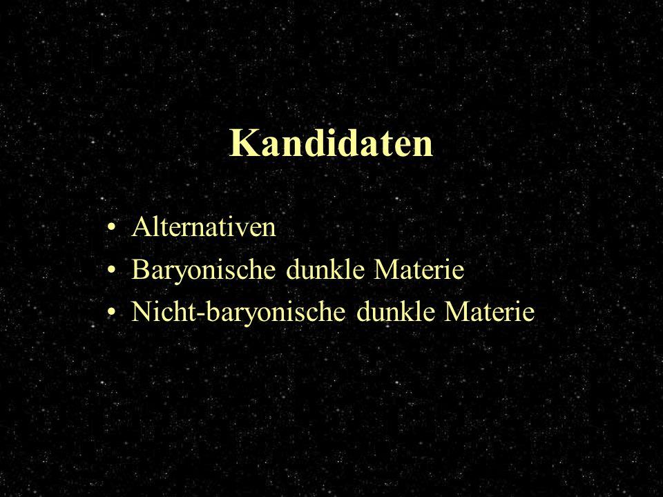 Kandidaten Alternativen Baryonische dunkle Materie Nicht-baryonische dunkle Materie