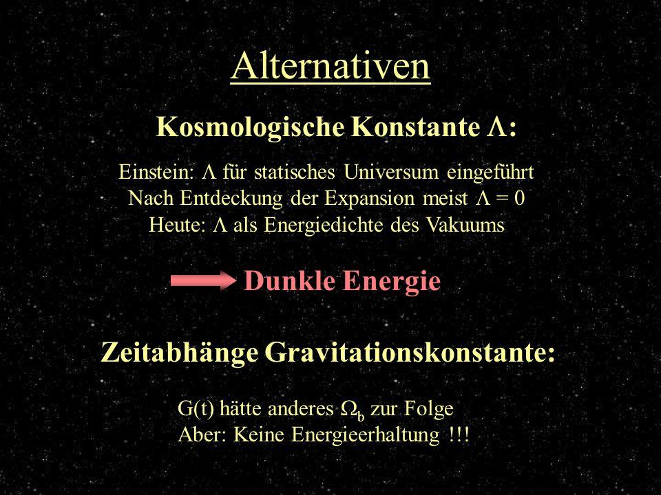 Alternativen Kosmologische Konstante : Einstein: für statisches Universum eingeführt Nach Entdeckung der Expansion meist = 0 Heute: als Energiedichte