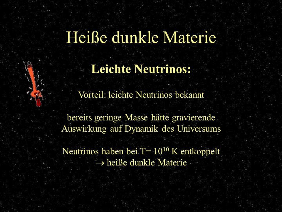 Heiße dunkle Materie Leichte Neutrinos: Vorteil: leichte Neutrinos bekannt bereits geringe Masse hätte gravierende Auswirkung auf Dynamik des Universu