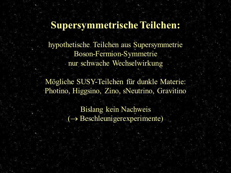 Supersymmetrische Teilchen Supersymmetrische Teilchen: hypothetische Teilchen aus Supersymmetrie Boson-Fermion-Symmetrie nur schwache Wechselwirkung M