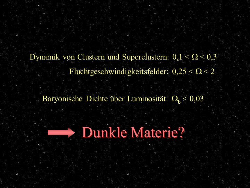 einige exemplarische Ergebnisse Dynamik von Clustern und Superclustern: 0,1 < < 0,3 Fluchtgeschwindigkeitsfelder: 0,25 < < 2 Baryonische Dichte über L