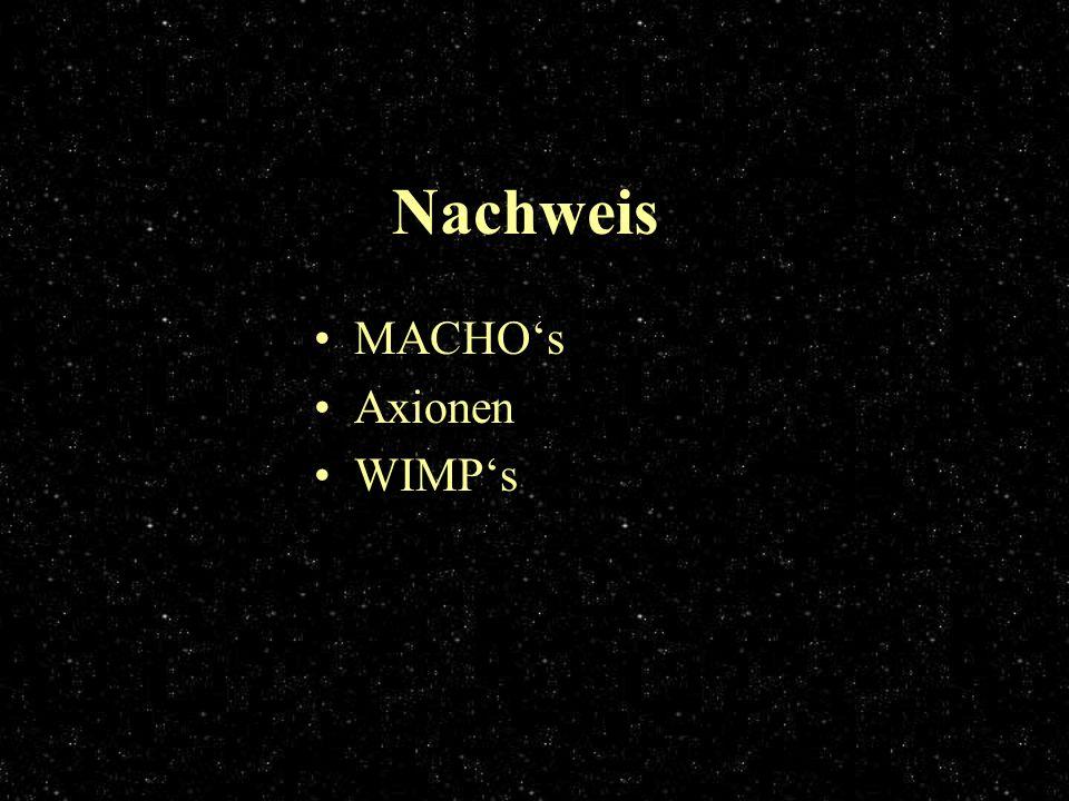 Nachweis MACHOs Axionen WIMPs