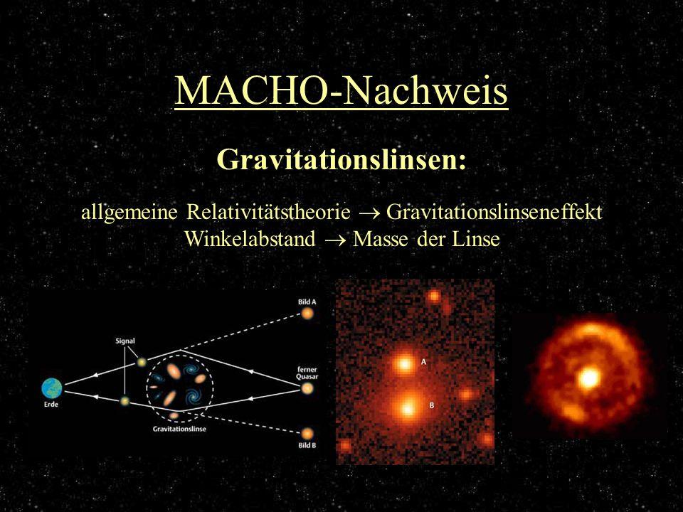 MACHO-Nachweis allgemeine Relativitätstheorie Gravitationslinseneffekt Winkelabstand Masse der Linse Gravitationslinsen: