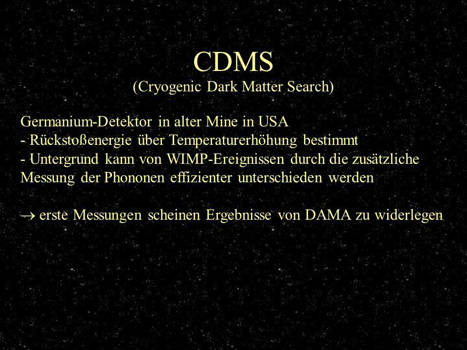 CDMS (Cryogenic Dark Matter Search) Germanium-Detektor in alter Mine in USA - Rückstoßenergie über Temperaturerhöhung bestimmt - Untergrund kann von W