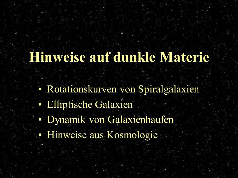 Hinweise auf dunkle Materie Rotationskurven von Spiralgalaxien Elliptische Galaxien Dynamik von Galaxienhaufen Hinweise aus Kosmologie