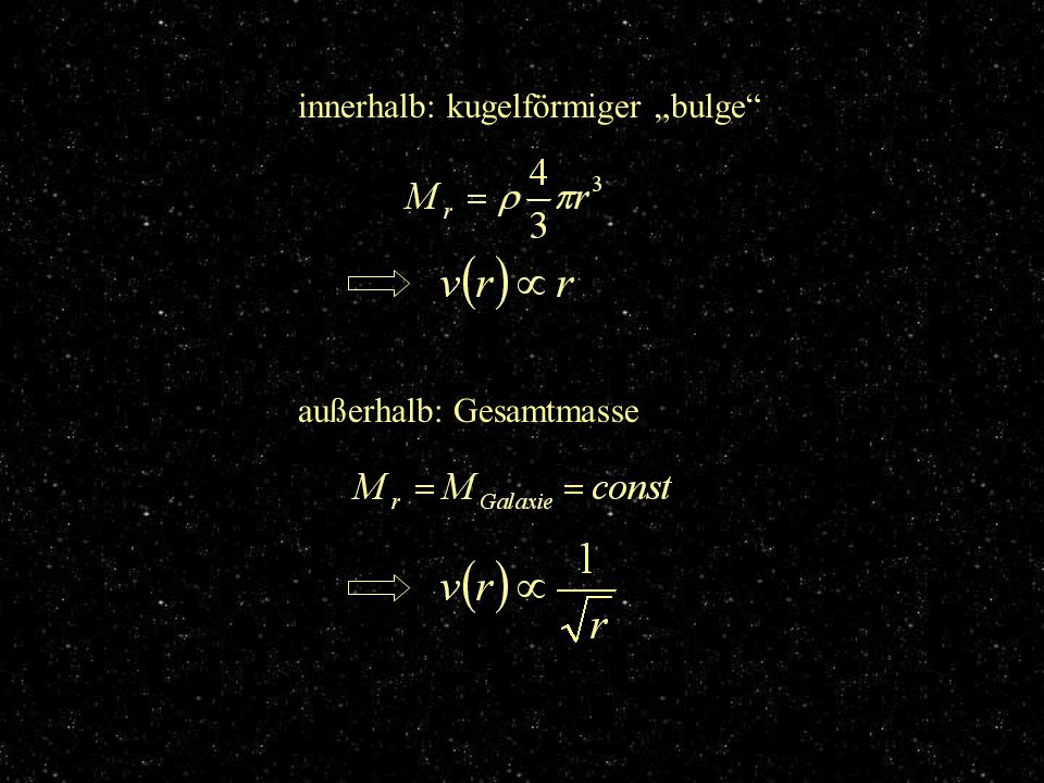 innerhalb: kugelförmiger bulge außerhalb: Gesamtmasse konkrete Berechnung
