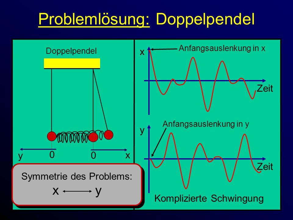 Problemlösung: Doppelpendel x Zeit 0 x Doppelpendel 0 y y Zeit Komplizierte Schwingung Anfangsauslenkung in x Anfangsauslenkung in y Symmetrie des Problems: x y