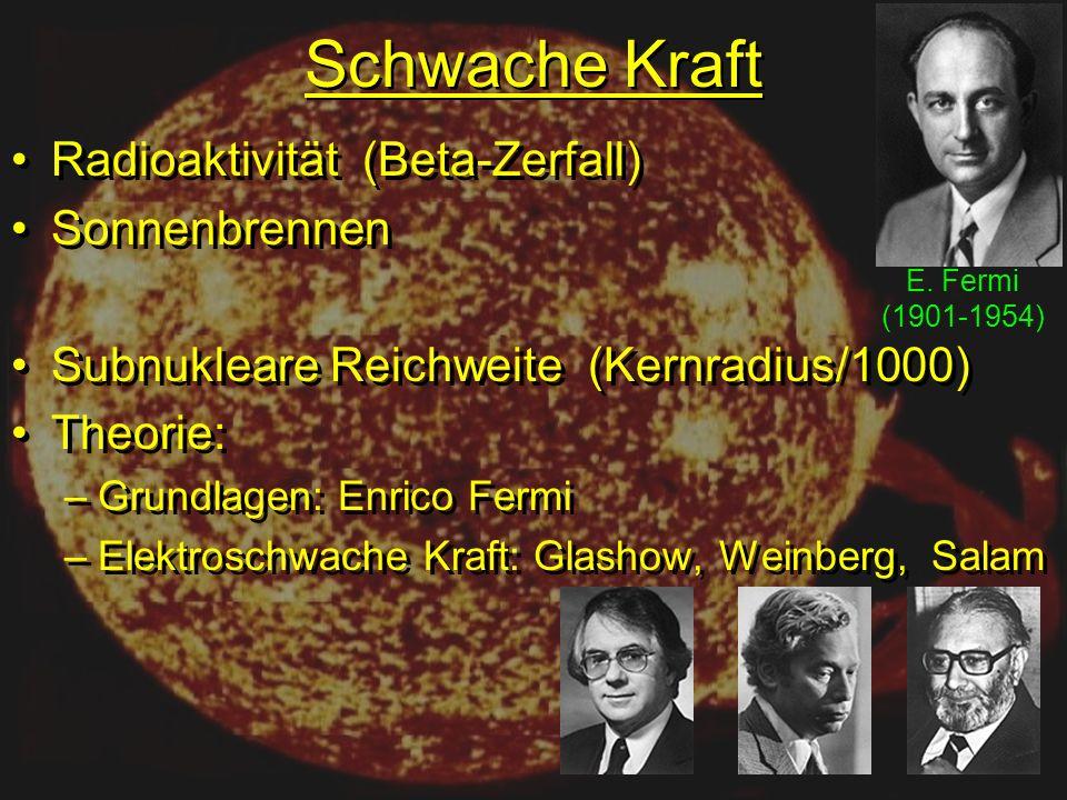 Schwache Kraft Radioaktivität (Beta-Zerfall) Sonnenbrennen Subnukleare Reichweite (Kernradius/1000) Theorie: –Grundlagen: Enrico Fermi –Elektroschwache Kraft: Glashow, Weinberg, Salam Radioaktivität (Beta-Zerfall) Sonnenbrennen Subnukleare Reichweite (Kernradius/1000) Theorie: –Grundlagen: Enrico Fermi –Elektroschwache Kraft: Glashow, Weinberg, Salam E.