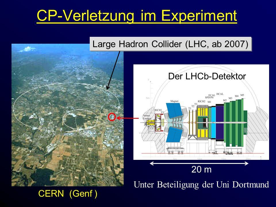 Der LHCb-Detektor 20 m CP-Verletzung im Experiment CERN (Genf ) Large Hadron Collider (LHC, ab 2007) Unter Beteiligung der Uni Dortmund