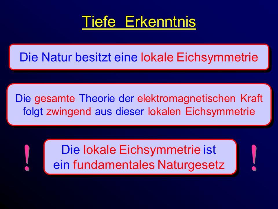 Tiefe Erkenntnis Die Natur besitzt eine lokale Eichsymmetrie Die gesamte Theorie der elektromagnetischen Kraft folgt zwingend aus dieser lokalen Eichsymmetrie Die gesamte Theorie der elektromagnetischen Kraft folgt zwingend aus dieser lokalen Eichsymmetrie Die lokale Eichsymmetrie ist ein fundamentales Naturgesetz Die lokale Eichsymmetrie ist ein fundamentales Naturgesetz .