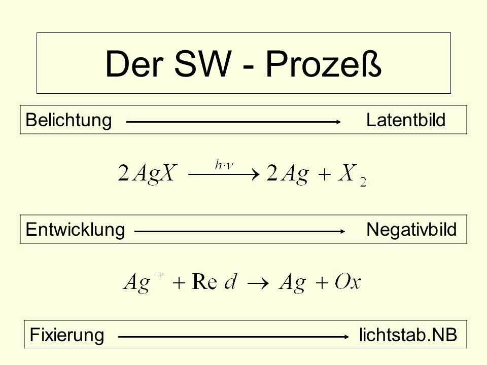 Der SW - Prozeß BelichtungLatentbild EntwicklungNegativbild Fixierung lichtstab.NB
