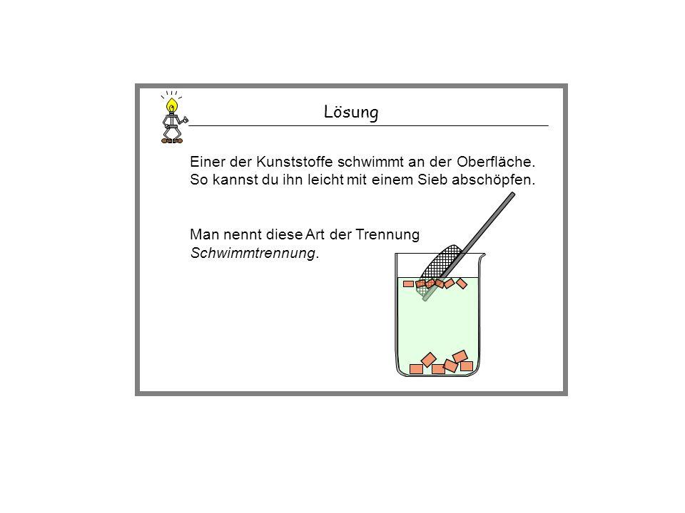 Lösung Einer der Kunststoffe schwimmt an der Oberfläche. So kannst du ihn leicht mit einem Sieb abschöpfen. Man nennt diese Art der Trennung Schwimmtr