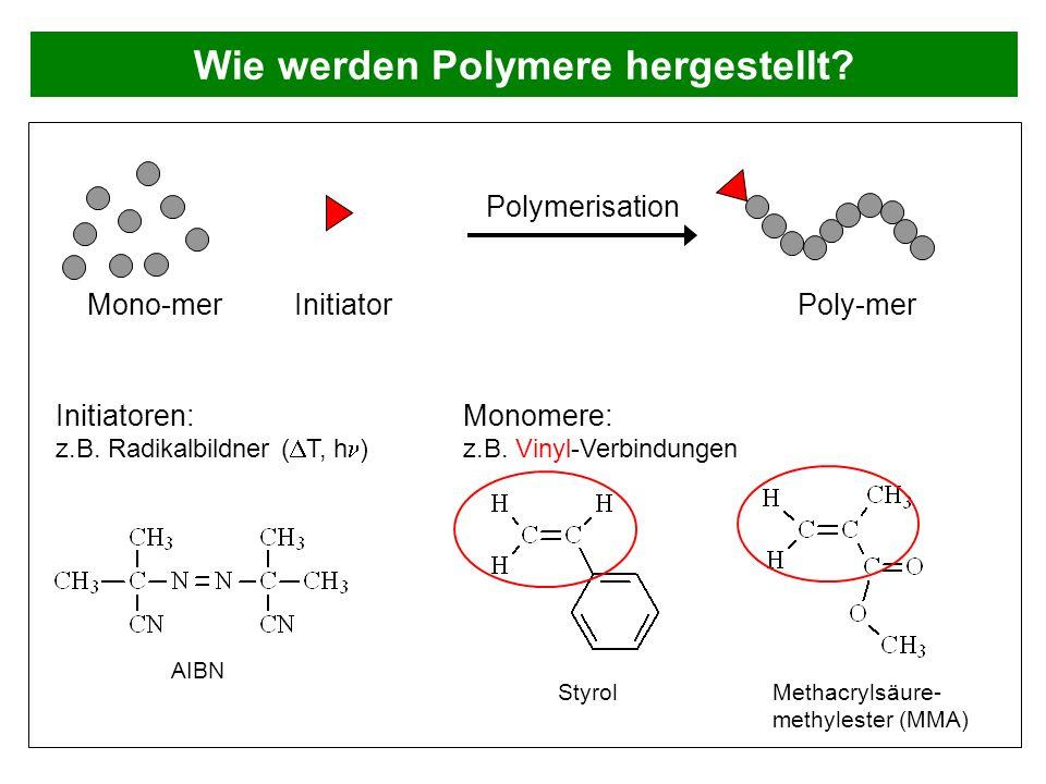 Wie werden Polymere hergestellt? Initiatoren: z.B. Radikalbildner ( T, h ) InitiatorMono-mer Poly-mer Polymerisation Monomere: z.B. Vinyl-Verbindungen