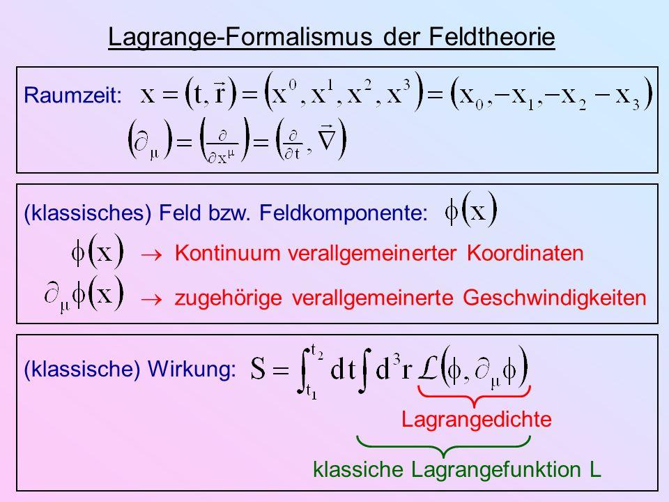Lagrange-Formalismus der Feldtheorie Raumzeit: (klassisches) Feld bzw. Feldkomponente: Kontinuum verallgemeinerter Koordinaten zugehörige verallgemein