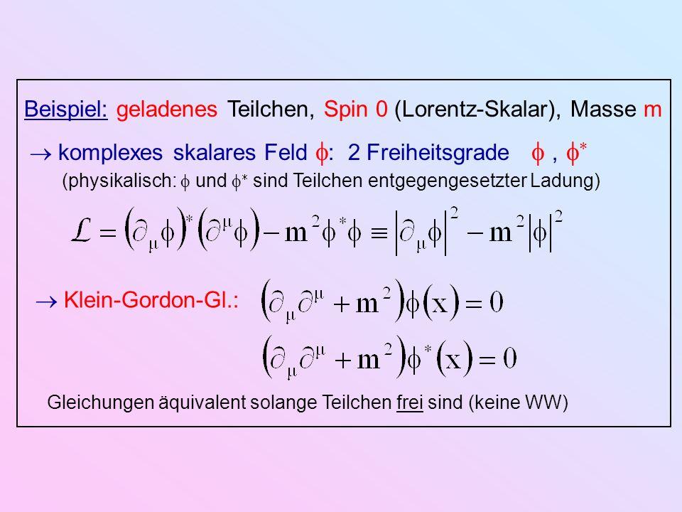 Beispiel: geladenes Teilchen, Spin 0 (Lorentz-Skalar), Masse m komplexes skalares Feld : 2 Freiheitsgrade, (physikalisch: und sind Teilchen entgegenge