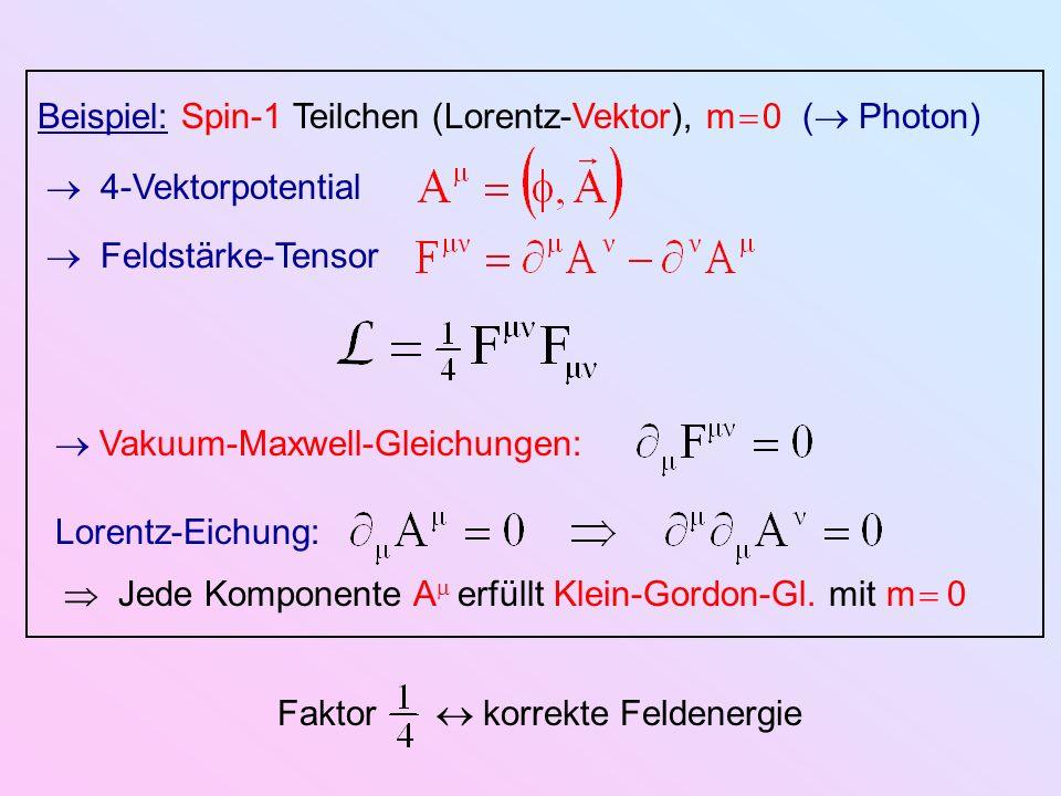 Beispiel: Spin-1 Teilchen (Lorentz-Vektor), m 0 ( Photon) 4-Vektorpotential Vakuum-Maxwell-Gleichungen: Feldstärke-Tensor Lorentz-Eichung: Jede Kompon