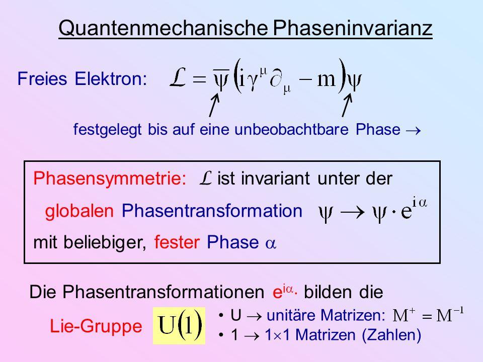 Quantenmechanische Phaseninvarianz Freies Elektron: festgelegt bis auf eine unbeobachtbare Phase Phasensymmetrie: L ist invariant unter der mit belieb