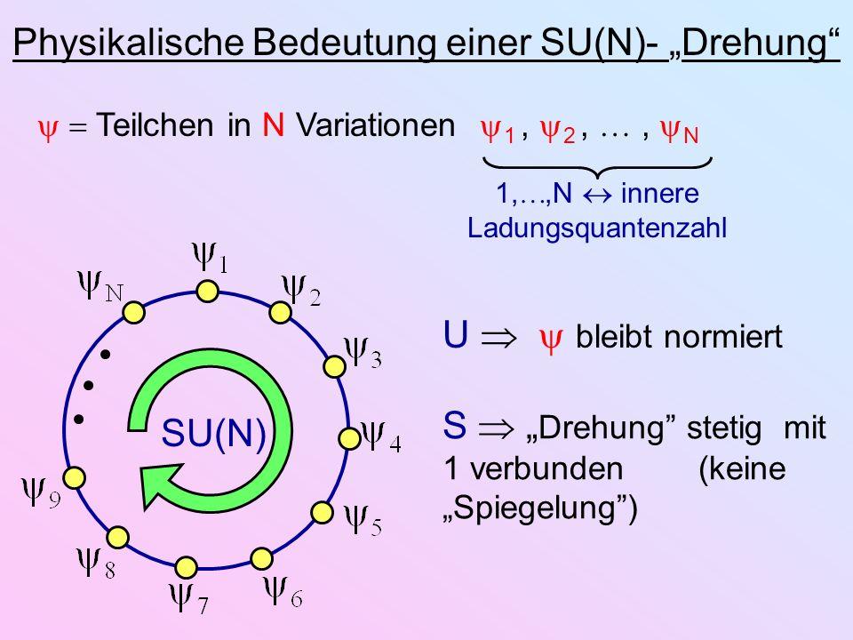 Physikalische Bedeutung einer SU(N)- Drehung Teilchen in N Variationen 1, 2,, N 1,,N innere Ladungsquantenzahl SU(N) U bleibt normiert S Drehung steti