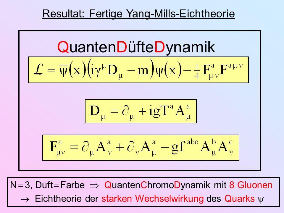Resultat: Fertige Yang-Mills-Eichtheorie QuantenDüfteDynamik N 3, Duft Farbe QuantenChromoDynamik mit 8 Gluonen Eichtheorie der starken Wechselwirkung
