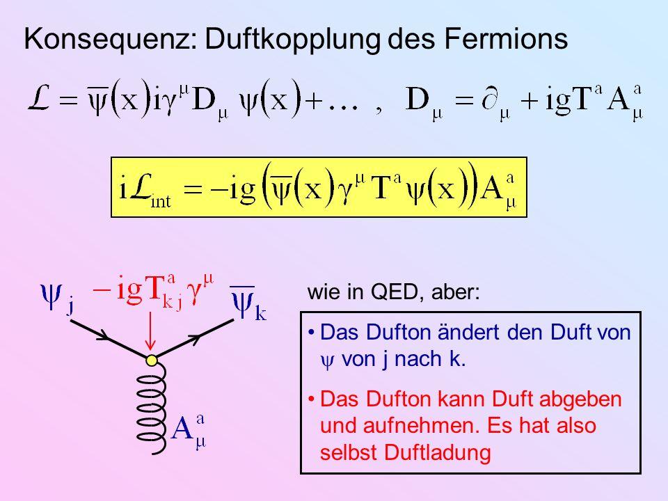 Konsequenz: Duftkopplung des Fermions wie in QED, aber: Das Dufton ändert den Duft von von j nach k. Das Dufton kann Duft abgeben und aufnehmen. Es ha