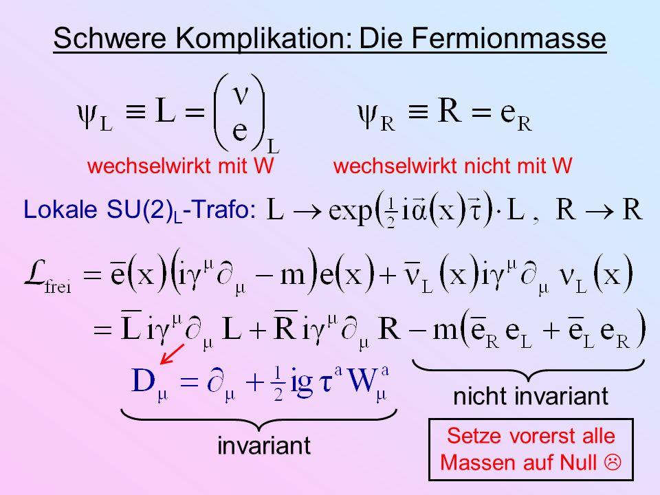 Schwere Komplikation: Die Fermionmasse Lokale SU(2) L -Trafo: wechselwirkt mit Wwechselwirkt nicht mit W invariantnicht invariant Setze vorerst alle M