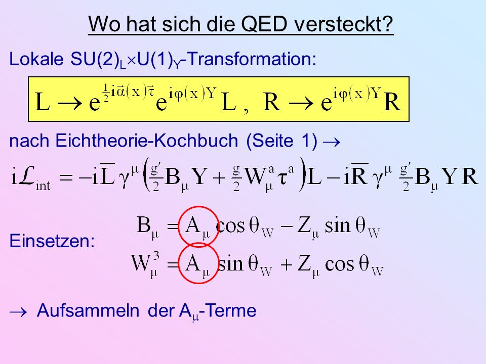 Wo hat sich die QED versteckt? nach Eichtheorie-Kochbuch (Seite 1) Lokale SU(2) L U(1) Y -Transformation: Einsetzen: Aufsammeln der A -Terme