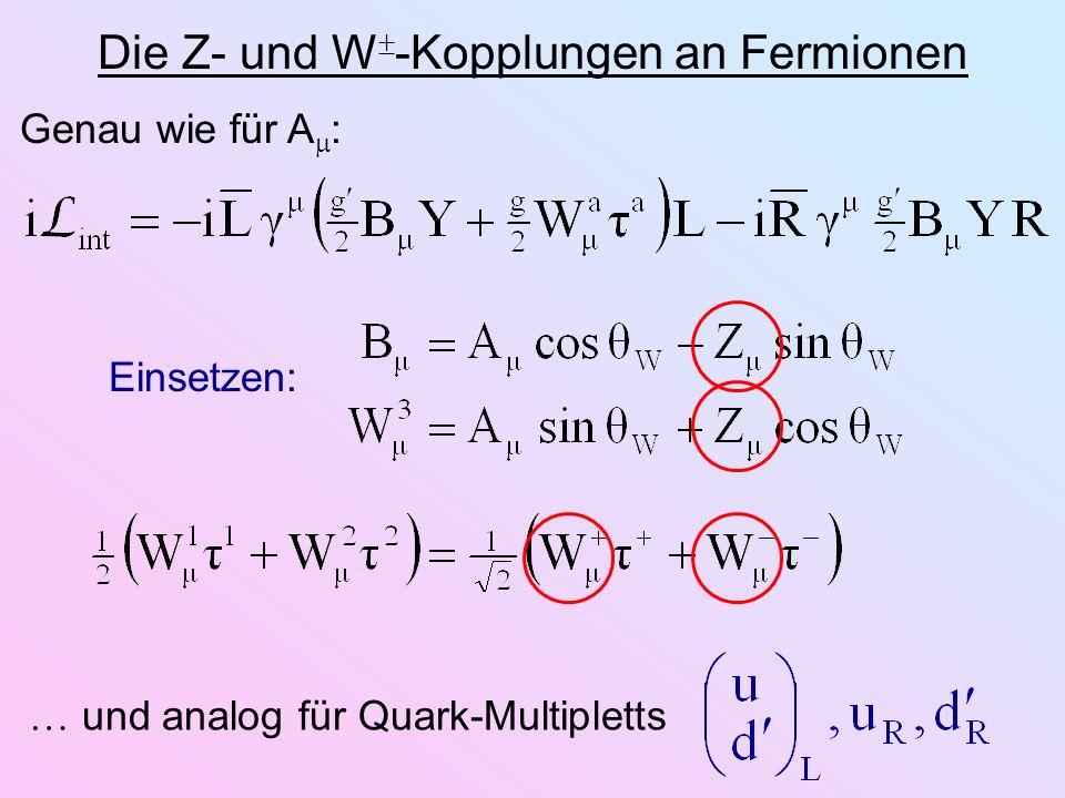 Die Z- und W -Kopplungen an Fermionen Einsetzen: Genau wie für A : und analog für Quark-Multipletts